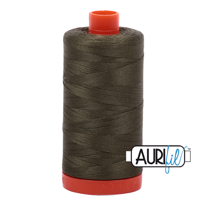 Aurifil Army Green 50 wt Cotton Thread 1422 yd Spool
