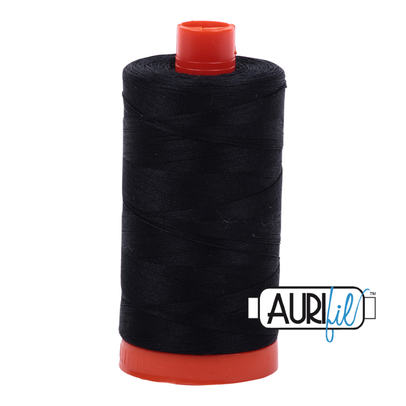 Aurifil Black 50 wt Cotton Thread 1422 yd Spool