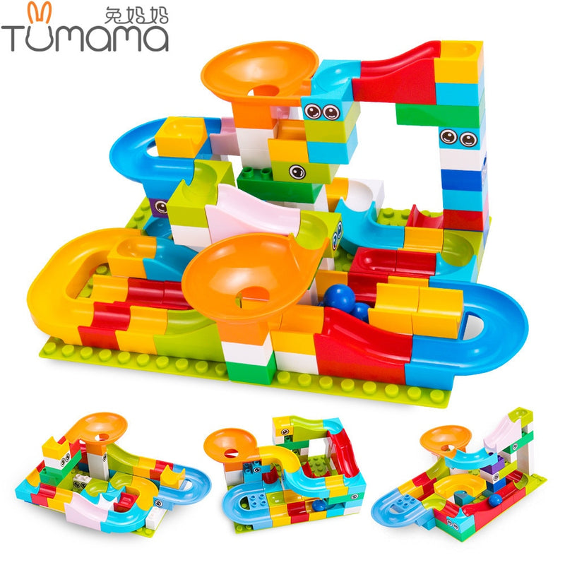 Marble Race Run Maze Ball Track Building Blocks Mini Size Funnel Slide Bricks