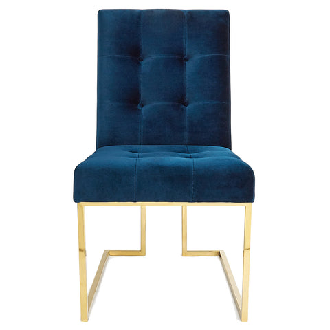 Navy Velvet Dining Chair Blue and Gold Interior Decor