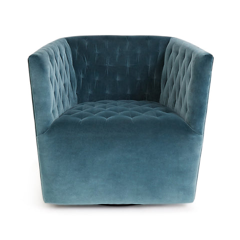 Posh Swivel Chair Blue and Gold Interior Decor
