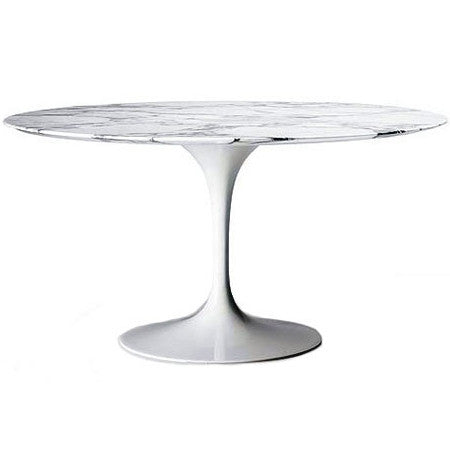 Mod Fashionable Round Marble Top Tulip Dining Table Blue and Gold Interior Decor