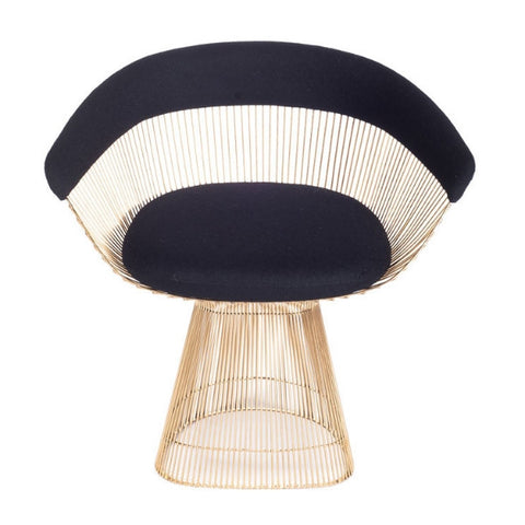Holiday Decor Must-Haves: 2015 Brass and Wool Curve Chair Black and Gold