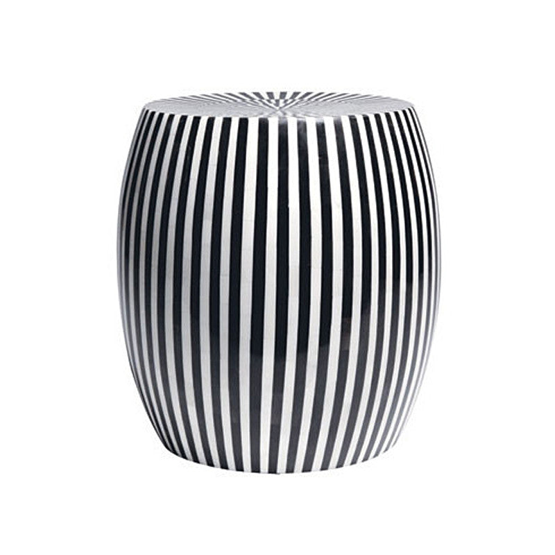 B&W Striped Side Table - Black Rooster Decor