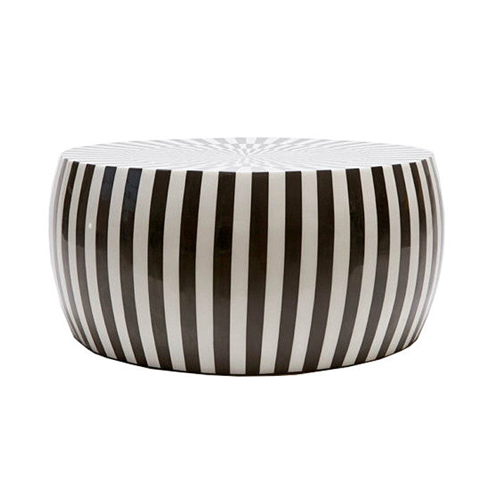 B&W Striped Coffee Table - Black Rooster Decor
