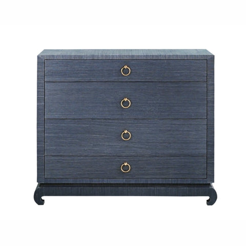 Lacquered Navy Grasscloth Dresser