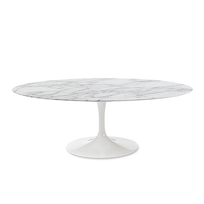 Oval Marble Top Tulip Dining Table