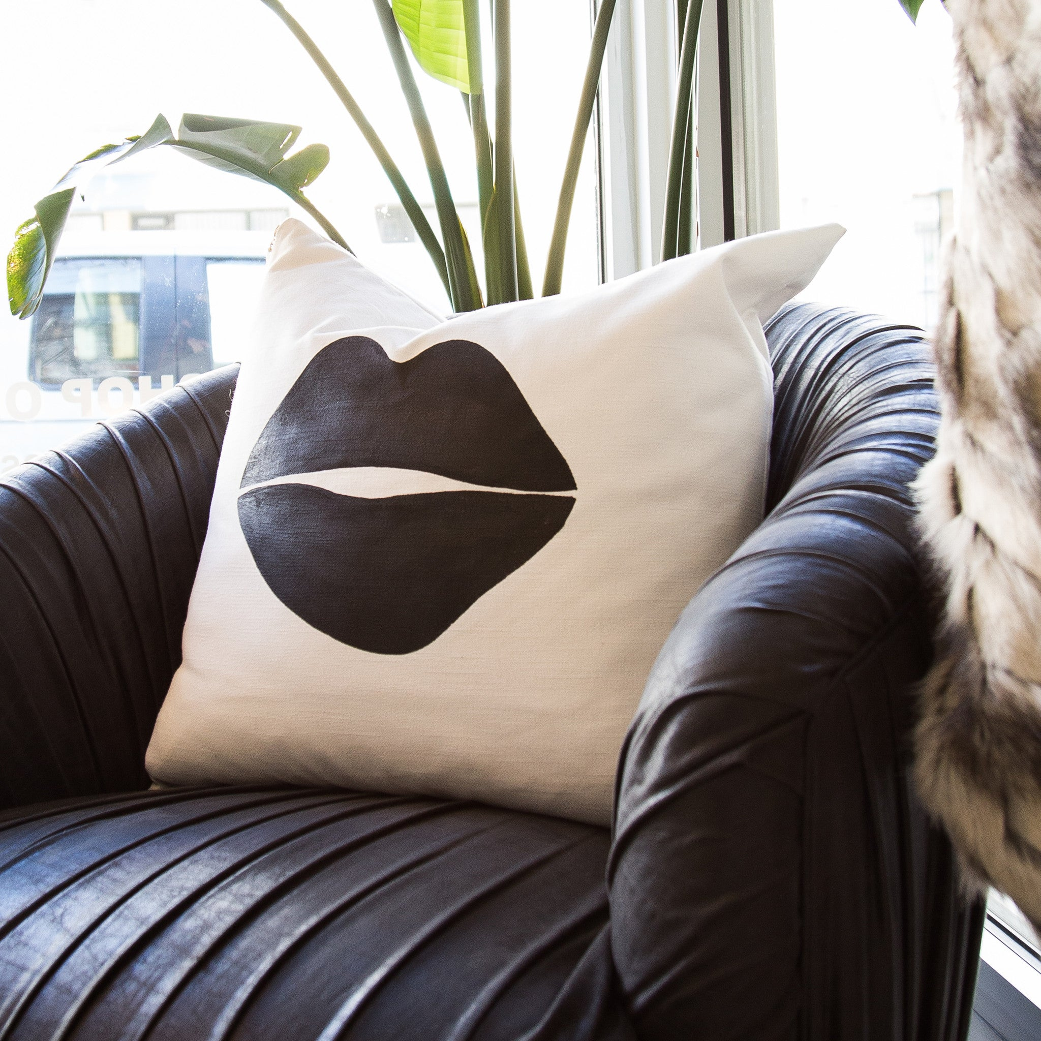 Black Lips Pillow - Black Rooster Decor