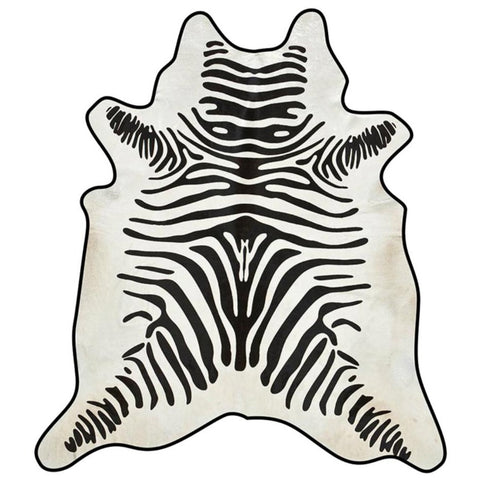 Zebra with Leather Trim Cowhide