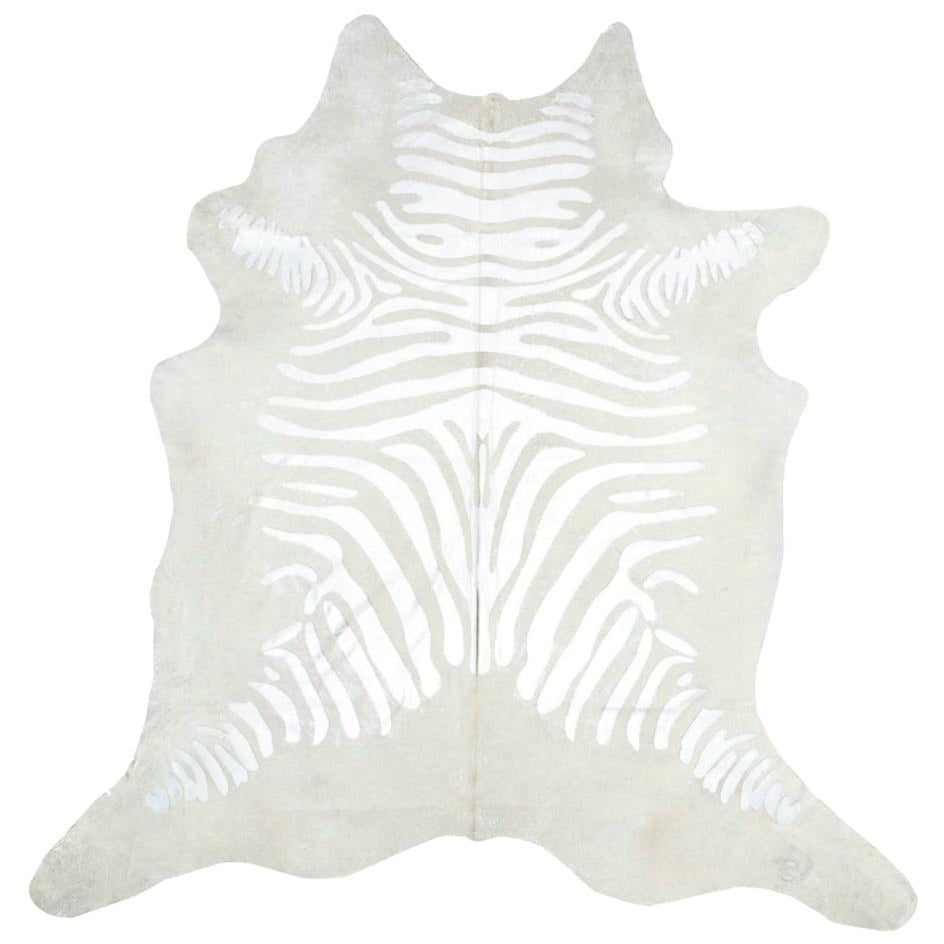 Silver Zebra On Ivory Cowhide Black Rooster Decor