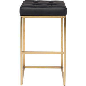 Black & Brushed Gold Stool - Black Rooster Decor