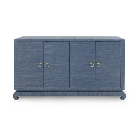 Lacquered Navy Grasscloth Cabinet