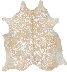 Spotted Silver on Beige Cowhide