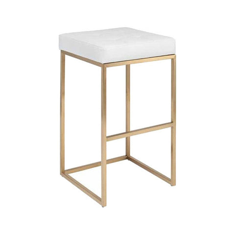 White & Brushed Gold Stool
