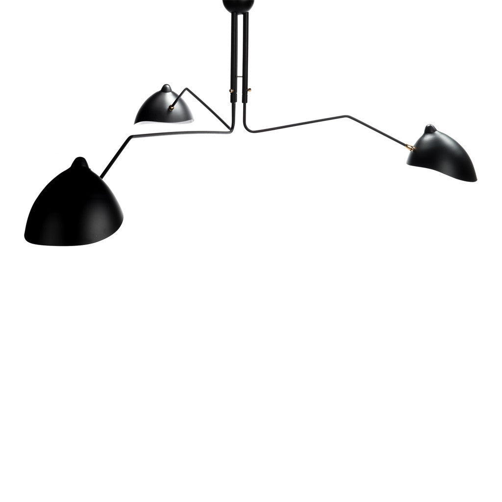Mid Century 3-Arm Ceiling Light - Black