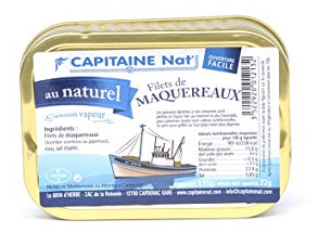 Conserve de Filets de Maquereaux au naturel (Capitaine Nat' - 115g)