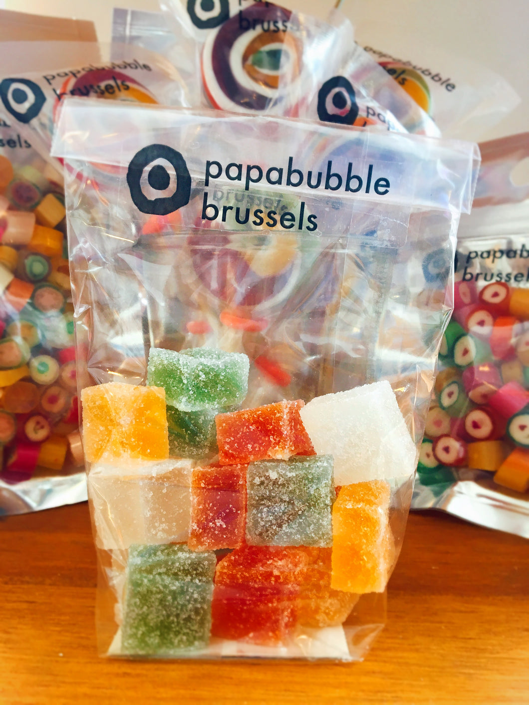 Gommes Papabubble FRUITS EXOTIQUES (Sachets de 110gr - Made in Bxl)
