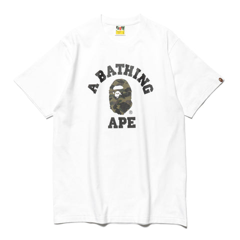 a bathing ape 1st Camo College Tee White x Green