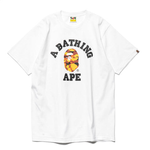 a bathing ape 1st Camo College Tee White x Orange