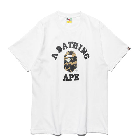 a bathing ape 1st Camo College Tee White x Yellow