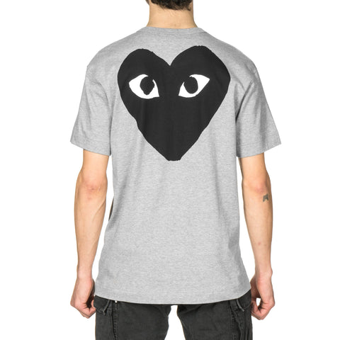 comme des garcons Cotton Jersey Print Black Text Black Back Heart Tee Gray