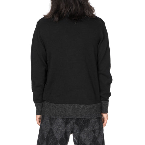 comme des garcons homme Carded Wool Jersey Knit Sweater Black/Gray