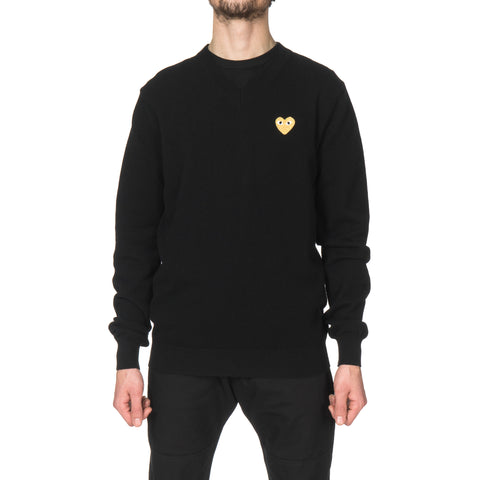comme des garcons play Gold Emblem Knit Sweater Black