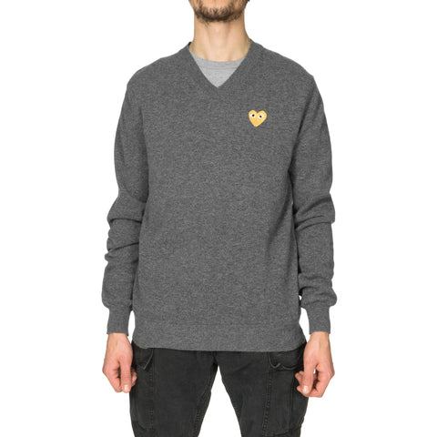 comme des garcons play Gold Emblem Knit Sweater Gray