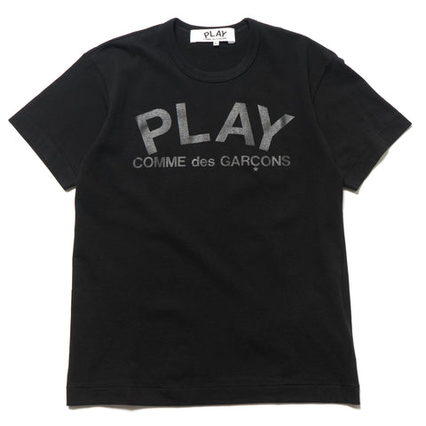 comme des garcons Cotton Jersey Print Black Text Logo Tee Black