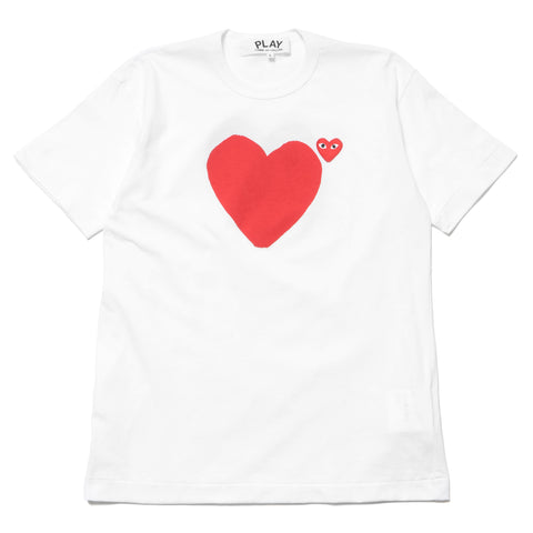 1978ee50e comme des garcons Print Front and Back Heart Red Emblem Tee White ...