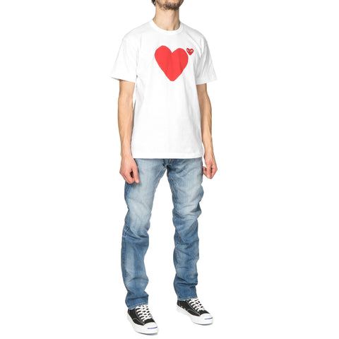 comme des garcons Print Front and Back Heart Red Emblem Tee White