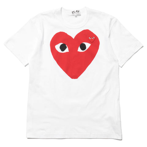 571b23f7b comme des garcons Cotton Jersey Print Red Heart Red Emblem Tee White ...
