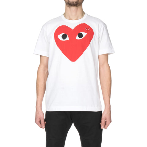 comme des garcons Cotton Jersey Print Red Heart Red Emblem Tee White