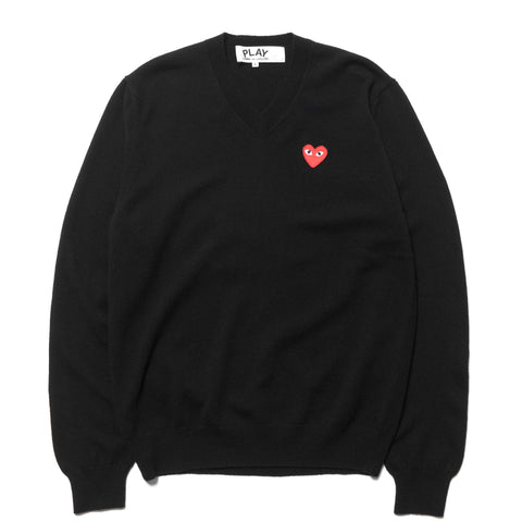 comme des garcons play Red Emblem Knit Sweater Black