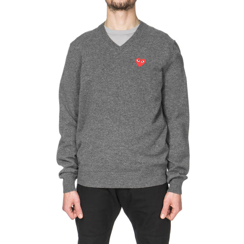 comme des garcons play Red Emblem Knit Sweater Gray
