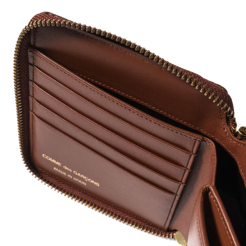 COMME des GARÇONS Luxury Group Leather Full Zip Wallet Brown