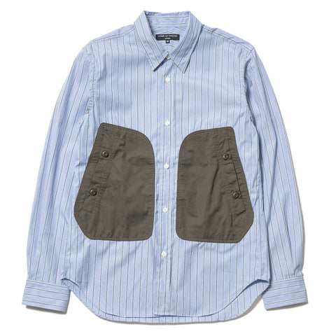 comme des garcons homme Cotton Broad Stripe x Cotton Polyester Canvas Shirt