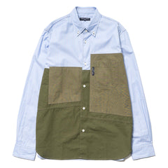 comme des garcons homme Cotton Oxford Stripe x Cotton Cloth Parts Treated Shirt