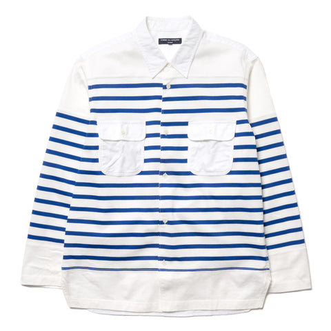 COMME des Garcons HOMME Garment Washed Cotton Oxford x Cotton Jersey Border Shirt