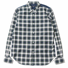CdG HOMME Cotton Twill Tartan Check Shirt Green/Navy/White
