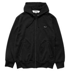Comme des Garcons PLAY Black Heart Front and Back Zip Up Hoodie Black (T254), Sweaters