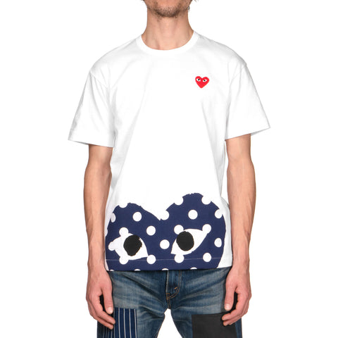 Comme des Garçons Red Emblem Bottom Heart Polka Dot Tee White