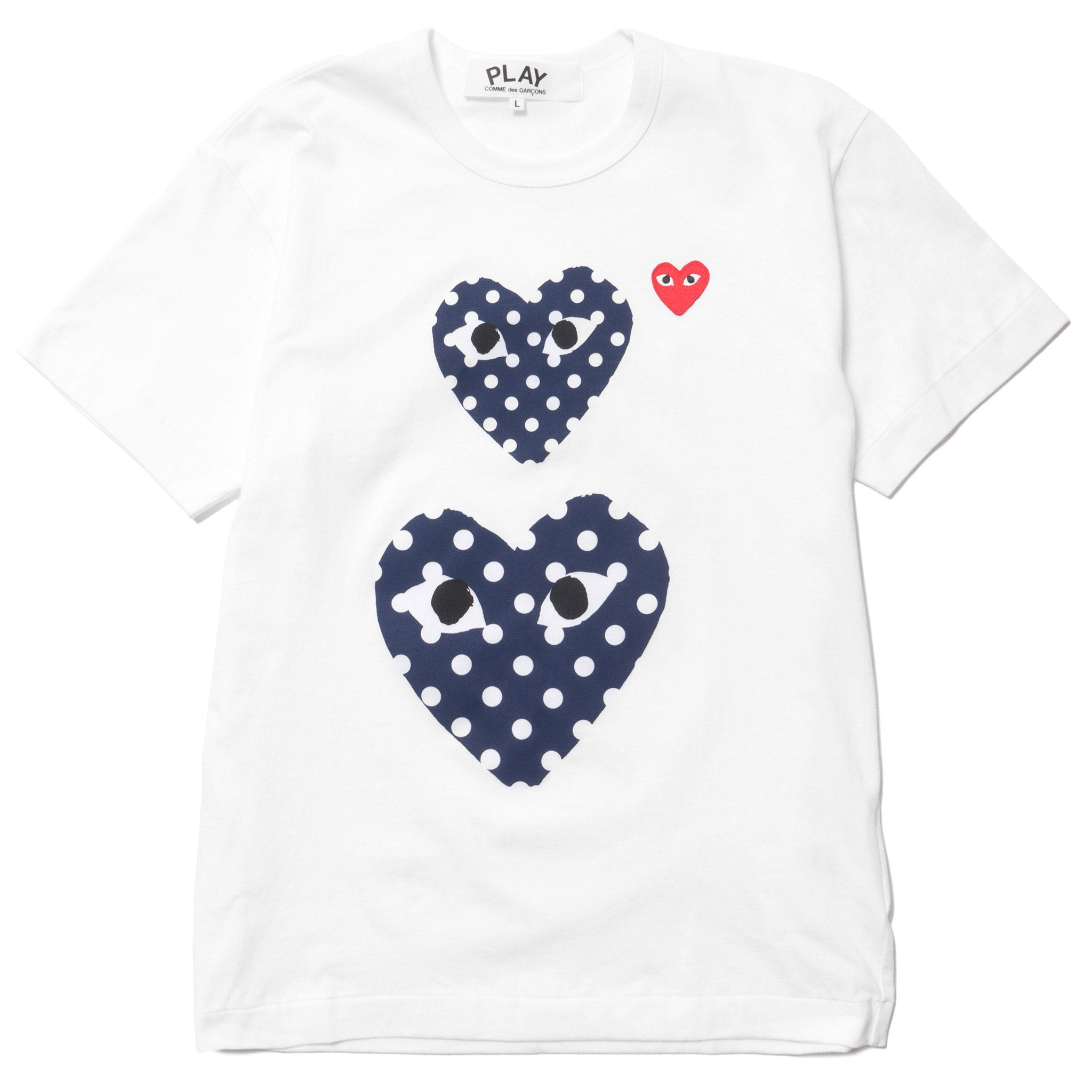 be1e636d1170 Red Emblem Double Polka Dot Heart Tee White (T238) – HAVEN