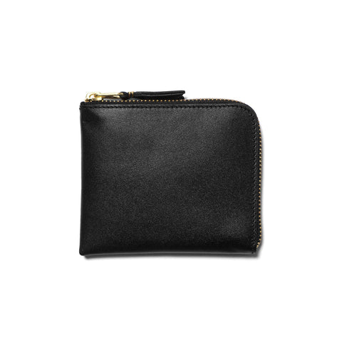 comme des garcons wallet Classic Line Leather Half Zip Wallet Black