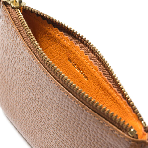Comme des Garcons WALLET Colour Inside Zip Pouch BROWN/ ORANGE