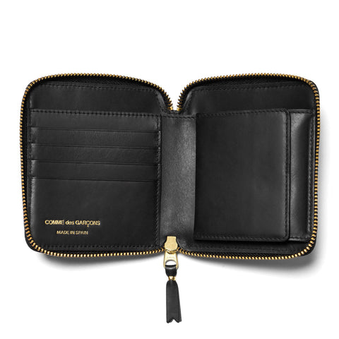 comme des garcons wallet Embossed Stitch Line Full Zip Wallet Black
