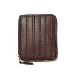 comme des garcons wallet Embossed Stitch Line Full Zip Wallet Brown