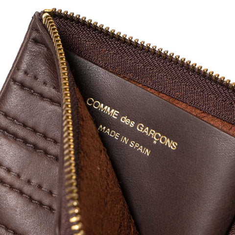comme des garcons wallet Embossed Stitch Leather Half Zip Wallet Brown