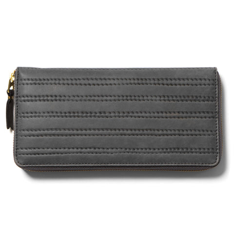Comme des Garcons Embossed Stitch Line Long Wallet Grey