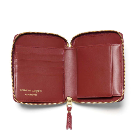 Comme des Garcons WALLET Luxury Group Leather Full Zip Wallet Burgundy